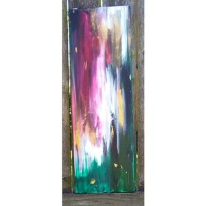 "30""x10"" Abstract Acrylic on Canvas Painting"